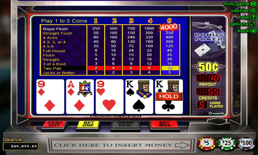 bonus poker video poker royal flush